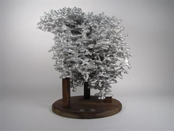 The front of the aluminum ant colony casting display.